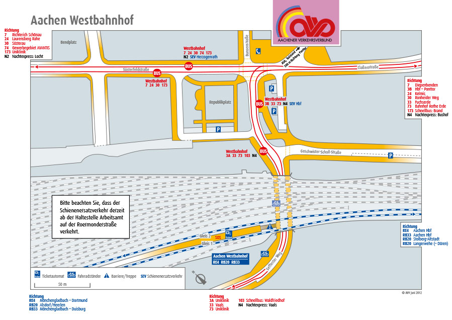 Aachen Westbahnhof - Info für öffentliche Verkehrsmittel